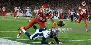Kansas City Chiefs cornerback Sean Smith (21) covers Denver Broncos wide receiver Cody Latimer (14) as the ball falls incomplete during the second quarter on Sunday, Nov. 30, 2014, at Arrowhead Stadium in Kansas City, Mo. (David Eulitt/Kansas City Star/TNS)