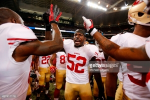 ST. LOUIS, MO - OCTOBER 13: Patrick Willis #52 of the San Francisco 49ers fires up the team on the field prior to the game against the St. Louis Rams at the Edward Jones Dome on October 13, 2014 in St. Louis, Missouri. The 49ers defeated the Rams 31-17. (Photo by Michael Zagaris/San Francisco 49ers/Getty Images)  *** Local Caption *** Patrick Willis