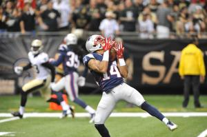 Chris Harper against the Saints (Photo: Keith Nordstrom/Patriots.com)