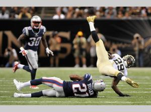 Malcom Butler makes the play in pre-season vs New Orleans (Keith Nordstrom Patriots.com photo)