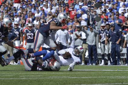 Taylor sacked again by Chandler Jones (photo: Keith Nordstrom NewEnglandPatriots.com)