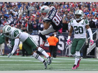 Danny Amondola makes an acrobatic catch in win over the Jets (Photo David Silverman, Patriots.com)