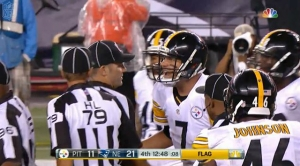 Ben Roethlisberger complains about Patriots goal line formation move drawing the Steeler offside