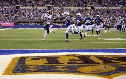 LeGarrette Blount runs for a 38-yard touchdown after the Colts botch an on-side kick (AP Photo/AJ Mast)
