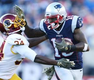 Brandon LaFell is hard to take down once he has the ball (Photo Patriots.com David Silverman)