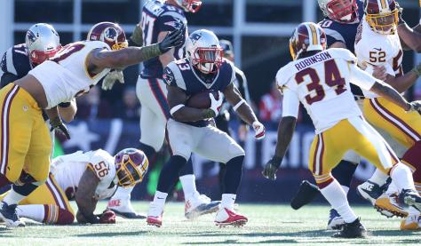 Dion Lewis went down for the season in the win against Washington (Photo Patriots.com David Silverman)