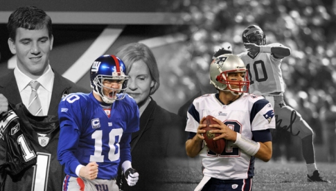 Eli Manning has stated he feels he is in the same class as Tom Brady (Picture handlebarmagazine.com)
