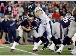 Philadelphia Eagles linebacker Connor Barwin (98) sacks New England Patriots quarterback Tom Brady during the first half (AP Photo/Steven Senne)