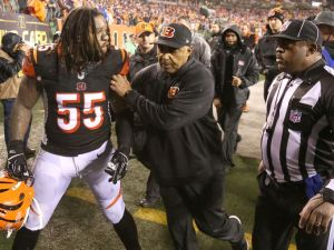 Vontaze Burfit is out of control and Head Coach Marvin Lewis can't control him (Photo: Cincinnati.com}